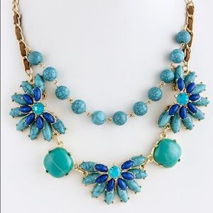 Turquoise and blue stones flower gold necklace new